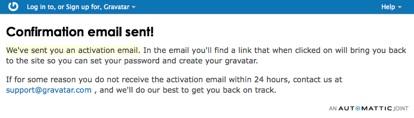 Gravatar: notifica di invio email di conferma
