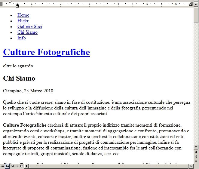 pagina web aperta da web