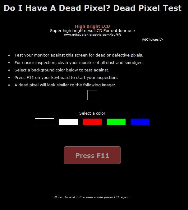 Controllare online se avete dei Dead Pixel
