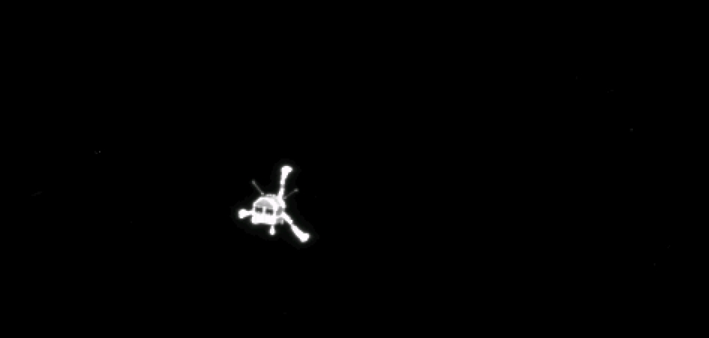 Rosetta's OSIRIS narrow-angle camera captured this parting shot of the Philae lander after separation (cropped).
